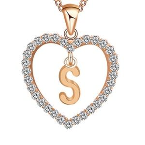 Jewelry - Letter S Monogram Hollow Heart Pendant Necklace